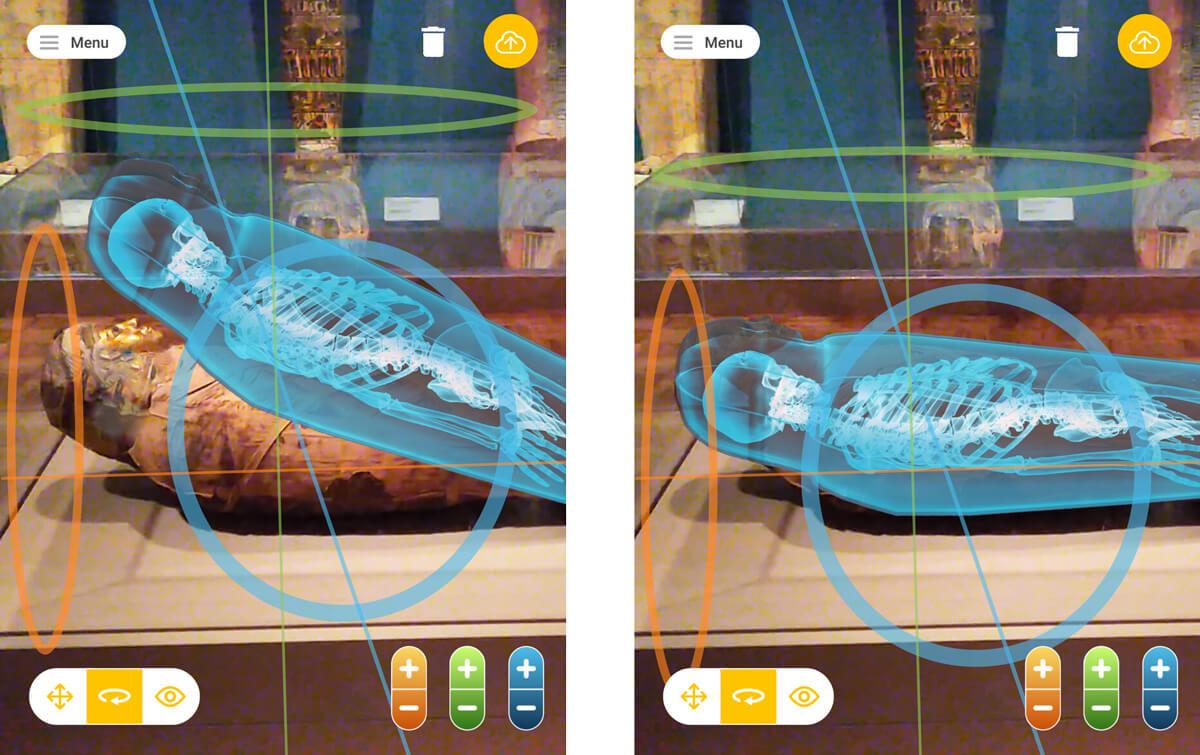 Positionnement d'une momie vue aux rayons-X sur son sarcophage.