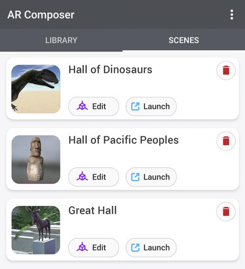 List of AR Scenes in Creator mode.
