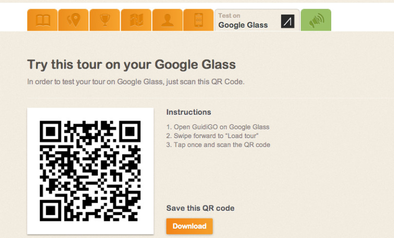 Test your tour on Google Glass
